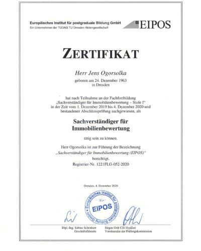 Zertifikat EIPOS I